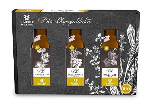 Ölmühle Solling Geschenkset Nussöl – je 100ml: Walnussöl, geröstetes Haselnussöl, geröstetes Arganöl