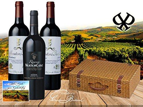 Super Kennenlernpaket Bordeaux Rotwein von Baron Philippe de Rotschild – 1 Flasche Réserve Mouton Cadet Médoc AOC und 2 Flaschen Mouton Cadet 'Edition Vintage 'Retro' in der wunderschönen Geschenkverpackung 'Weidenkorb' in Weidenoptik
