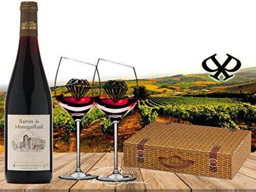100% Frankreich | Wunderschönes Premium Rotwein-Set Baron Montgaillard | Cuvée aus Cabernet Sauvignon/Syrah aus dem Languedoc Bordeaux| mit 2 Original geschrägten Rotwein-Gläsern in der exklusiven Geschenkverpackung Weidenkorb| Authentisch mit Henkel | französischer Wein für Kenner | perfekt zum Geburtstag und zu jeder Feier