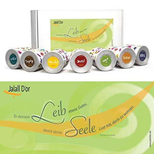 Geschenkset KÖRPER & GEIST (Avila) von Jalall D'or mit 7 Dosen | Geschenkbox mit Premium-Trockenfrüchten | Geburtstagsgeschenk Mann & Frau | GESCHENK Frauen & Männer