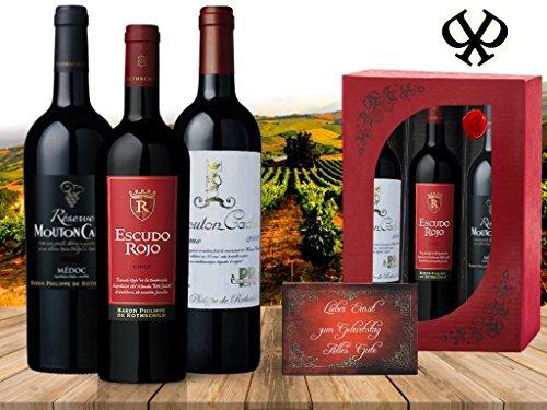 DAS Geschenkset Baron de Rothschild | 3 Bordeaux-Rotweine mit Geschichte | imitiert | in der edlen roten Geschenkbox | perfektes Geschenk zum Geburtstag, Weihnachten, Chef | Vintage Retro Rarität
