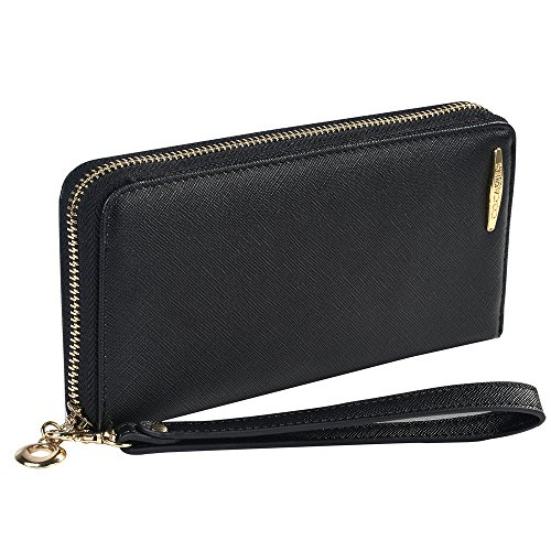 COCASES Damen Geldbörse, Elegant Kunstleder Portemonnaie Geldbeutel und Handytasche in einem Schwarz