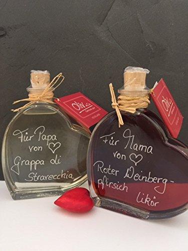 Geschenkset Herzflaschen 0,2l gefüllt mit Grappa di Stravecchia & Weinbergpfirsich Likör