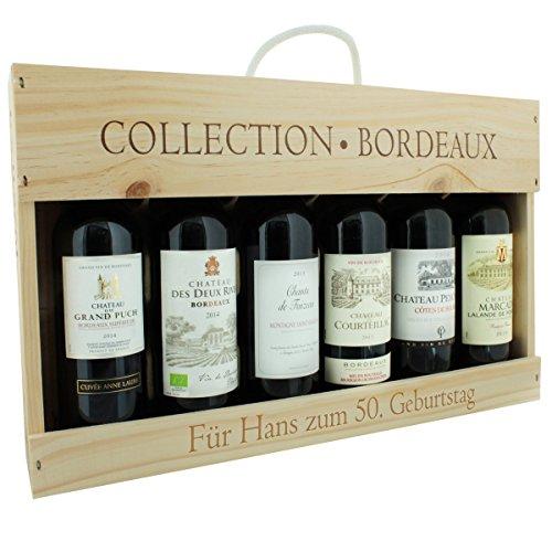 Edles Bordeaux-Wein-Set in hochwertiger Holz-Geschenk-Box mit persönlicher Laser-Gravur