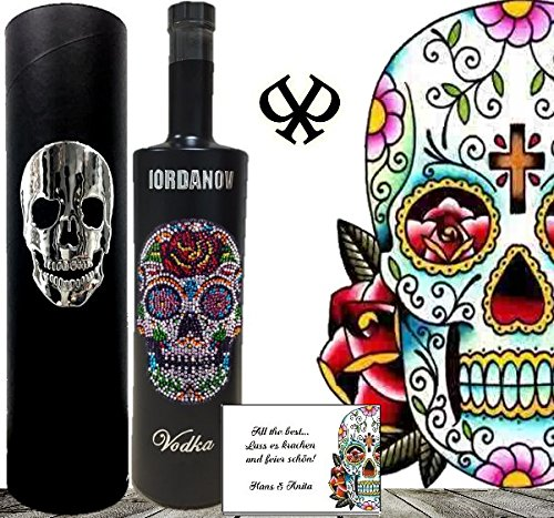Geschenkset Flower Skull Vodka |Black Bottle Sonderedition Luxus-Wodka Iordanov mit Crystal Kristallen & Geschenkbox