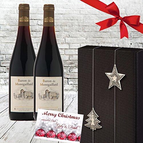 100% Weihachten | Exklusives Rotwein-Geschenk Frankreich | 2er Set X-Mas Silber Schwarz | Baron Montgaillard Bordeaux | Weihnachtsgeschenk französische Weine für Kenner edel