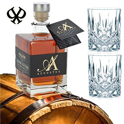 DAS Whisky-Geschenk für Kenner   6-fach gebrannt   weltweit einzigartig   Geschenk-Set Alternative zum Single Malt Whisky aus Schottland   Augustus Single Grain Whisky aus Deutschland   in exklusiver Geschenk-Box -inkl. 2 Whisky-Tumblern