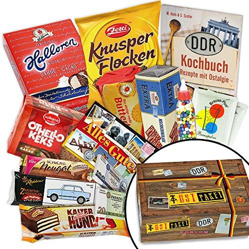 Einzigartiges Ostpaket mit köstlichen Delikatessen aus der DDR – Apfel Waldmeister Bonbons Bodeta, Kalter-Hund Blister, Viba Nougat Stange uvm.+++ INKLUSIVE Karte